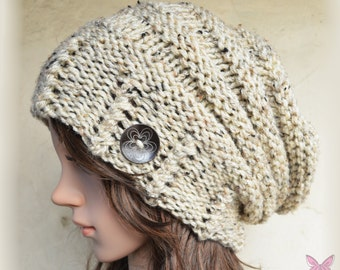 Slouchy beanie hat with button - OATMEAL - Oversized - chunky - handmade - vegan friendly - baggy - gift