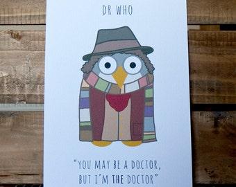 Dr Who, Tom Baker A4 Owl Print