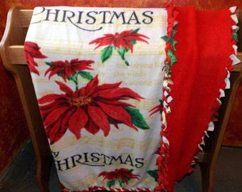 Double Layer Merry Christmas Poinsettia Fleece Blanket with Braided Edges