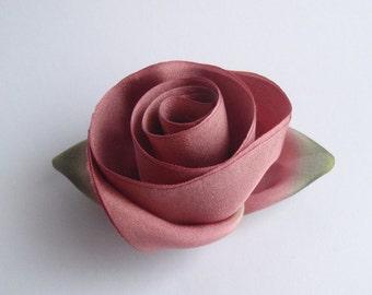 Dusty Rose Silk Flower Brooch Pin