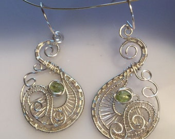 Silver and Peridot earrings, Wire Wrapped Jewelry Handmade,Twisted Wire Jewelry, unique earrings, Fair Trade Handmade Jewelry