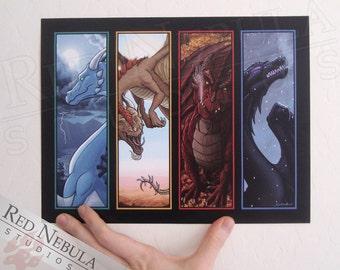 8.5x11 Seasonal Dragons Print, Four Seasons, Dragon Artwork, Spring Dragon, Summer Dragon, Autumn Dragon, Winter Dragon, Fantasy Wall Art
