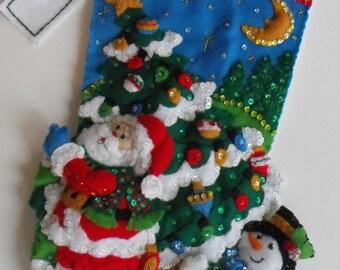 "16"" Beaded Christmas Stocking, Felt Christmas stocking, handmade Christmas stocking, Personalized Christmas stocking, monogrammed stocking"
