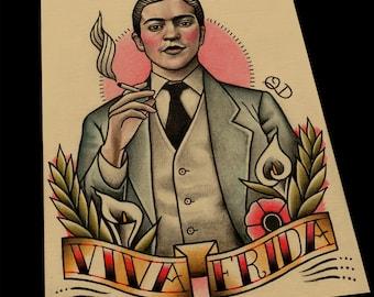 Frida Kahlo Tattoo Flash Print