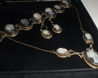 cameo set  bracelet  earring  necklace rare matching gods godess theme roman greek