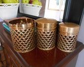 Vintage Brass Canisters, Set of Three