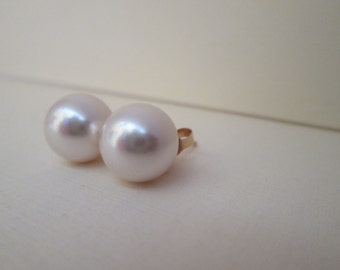 Large Faux Pearl Earrings in 14K Gold