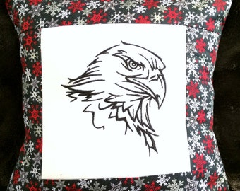 Christmas Eagle embroidered pillow cover
