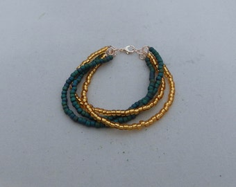 Green and Gold Twist Beaded Bracelet