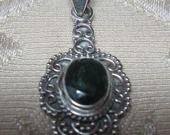 Mini Garnet Faceted  Sterling Silver Pendant