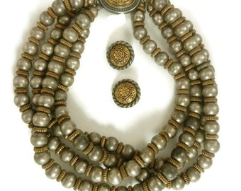 Ben Amun Set, Silver and Gold Four Strand Necklace and Round Earrings, Designer Demi Parure