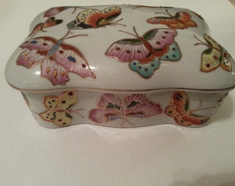 Ceramic Butterfly Design Box with Lid - NOT to be used with food
