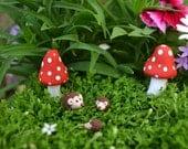 Hedgehog family set of three for fairy garden, terrarium