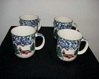 4 Tienshan Folkcraft Cabin In The Snow Mugs NEVER USED