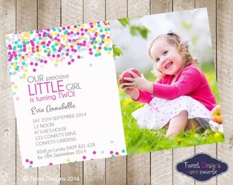 GIRL BIRTHDAY INVITATIONS, Printable Birthday Invitation, Confetti Birthday, Confetti Invitation, Confetti Bright Photo  Birthday Invitation