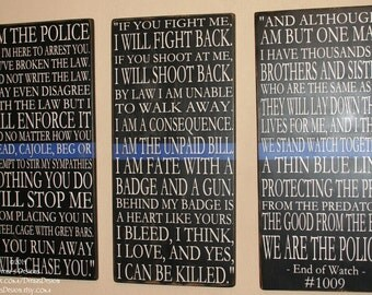 Police Sign, Law Enforcement Sign, Police Decor, Distressed Wall Decor, Custom Wood Sign, Thin Blue Line - End Of Watch Quote - 3 Sign Set
