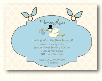 Sip and See Boy Invitation, blue, baby, boy, stork, quatrefoil, digital, printable, invite SS1442