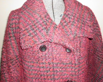 Vintage Bromleigh designer deep red and gray plaid mid century coat