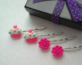 White and Hot Pink Covered Hearts Cupcake and Hot Pink Flowers Bobby Pins