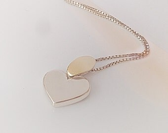 Silver Necklace, 14k Yellow Gold Pendant. 585 Heart Necklace, Sterling Chain,  Silver Jewelry,  Silver Heart pendant, Gold Heart Necklace
