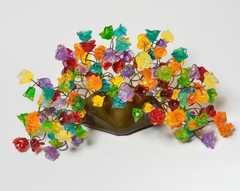 Wall light lamp - Sconce up light, colorful hand made decorative flowers lamp for wall