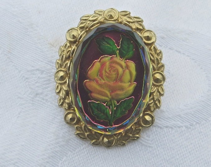 Rose Cameo Brooch Intaglio Pin Vintage 1950s jewelry