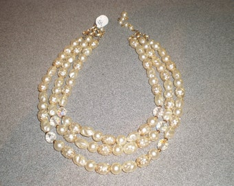 Vintage Upcycled Triple Stranded Faux Pearl and Faceted A/B Crystal Necklace