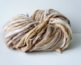 SALE: Thick and Thin Slub Yarn Handspun Natural Brown Merino