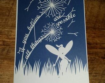 Printed fairy card blue