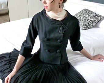 Fitted Evening Jacket Black Wool w Satin Trim Vintage 1950s 1960s Couture  Cropped 3/4 Sleeves Funnel Collar Jackie O