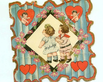Vintage 1920s Cupid Themed Shabby Die-Cut Valentine Card Featuring Chubby Children Whitney Made Cards