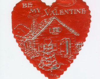 Vintage Red & Silver Foil Embossed Die-Cut Valentine's Day Greeting Card 1930s