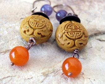 Bohemian jewelry boho dangle earring cinnabar earrings boho jewelry rustic gemstone jewelry boho earrings bohemian dangle earring