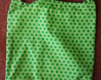 Green spotty tote bag