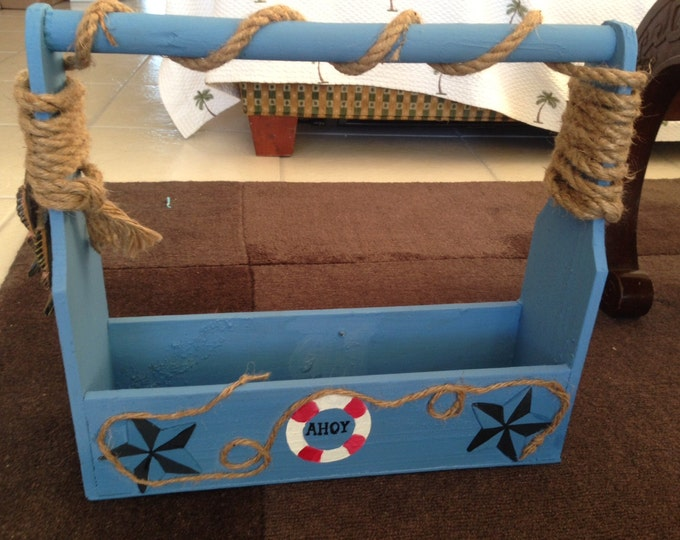 Solid Wood Tool Box painted Nautical Themed with Acrylic Paint