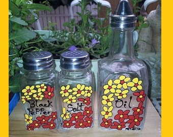 Hand painted salt pepper and oil glass shakers - FLOWERS