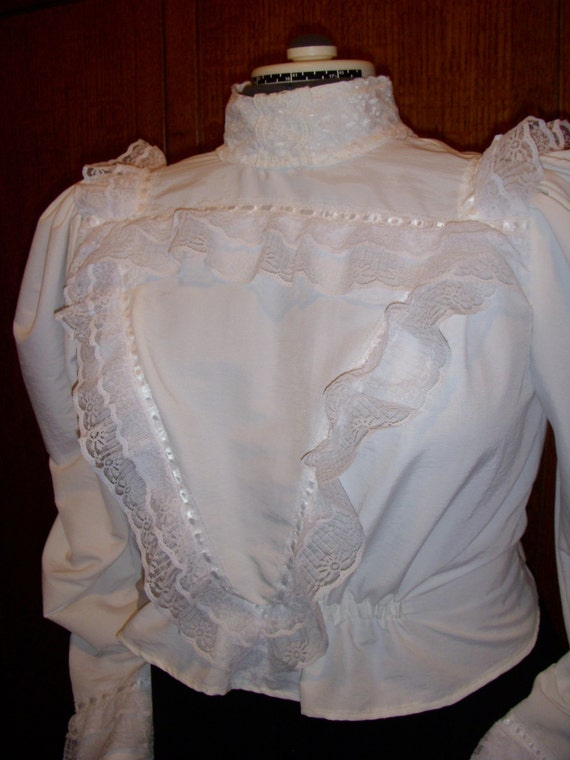 Octoberfest Sale New White Victorian Blouse high neck back