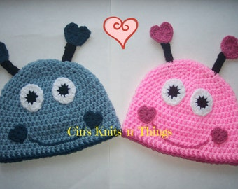 Valentine Hat - Love Bug Hat - Baby Hats - Toddler Hat - Child Hats - Adult Hats- Crochet Hats for Kids- Photo Prop- Bug Hat- Heart Hat