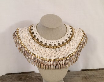 Women's Vintage Statement Necklace White Collar Bib Necklace Feathers and beads, Honolulu Hawaii, Island style Jewelry Tribal Accessories