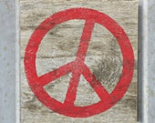 Peace Sign in Ruby Red - Small Rustic Wooden Peace Sign - Reclaimed Wood Hand Painted Peace Signs