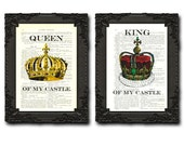 king and queen wall decor his and her crown print the royals king and queen prints