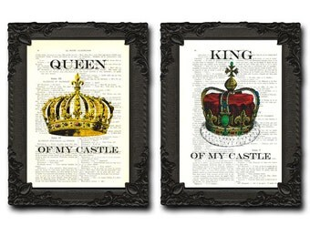 King And Queen Crown Wall Decor king and queen king queen crown print couple poster