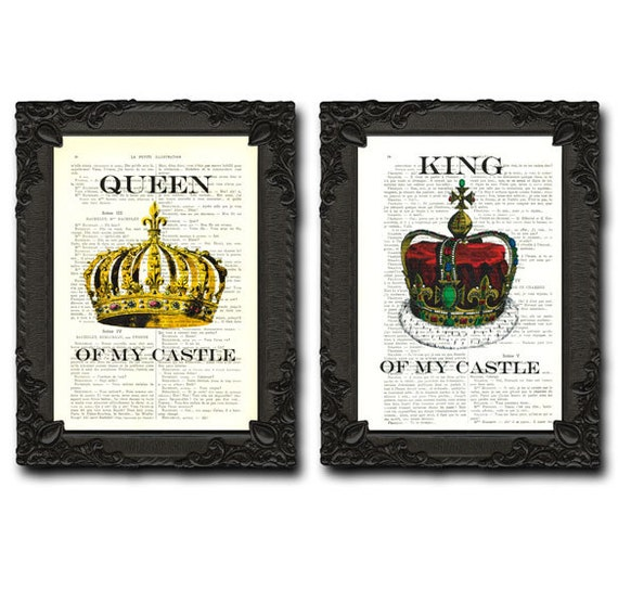 King And Queen Wall Decor His And Her Crown Print The Royals