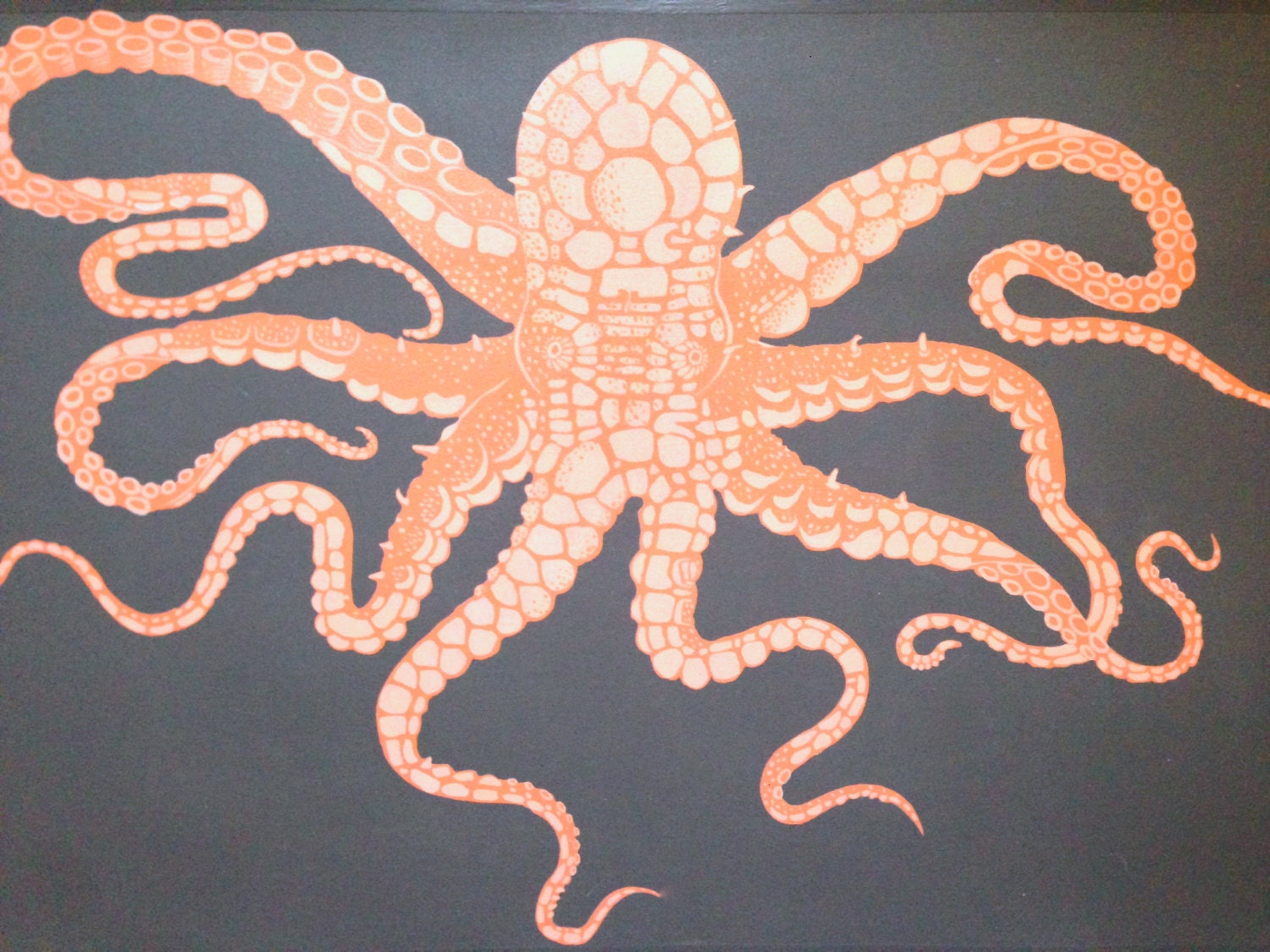 octopus rug  roselawnlutheran - hand painted octopus floor cloth orange grey rug mat art for the floorbeach house decor