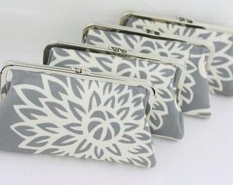 Grey Flower Bursts Blossoms Wedding Clutches / Grey Bridesmaid Clutch / Floral Wedding Purses - Set of 6