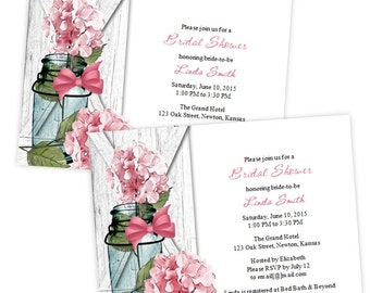 Country Bridal Shower Invitation - Pink Hydrangea in a Mason Jar - DIY Printable Template - Instant Download - Microsoft Word Format