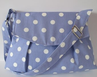 Lilac/White Dots Pleated Messenger Purse, Shoulder Bag, Crossbody, Handbag