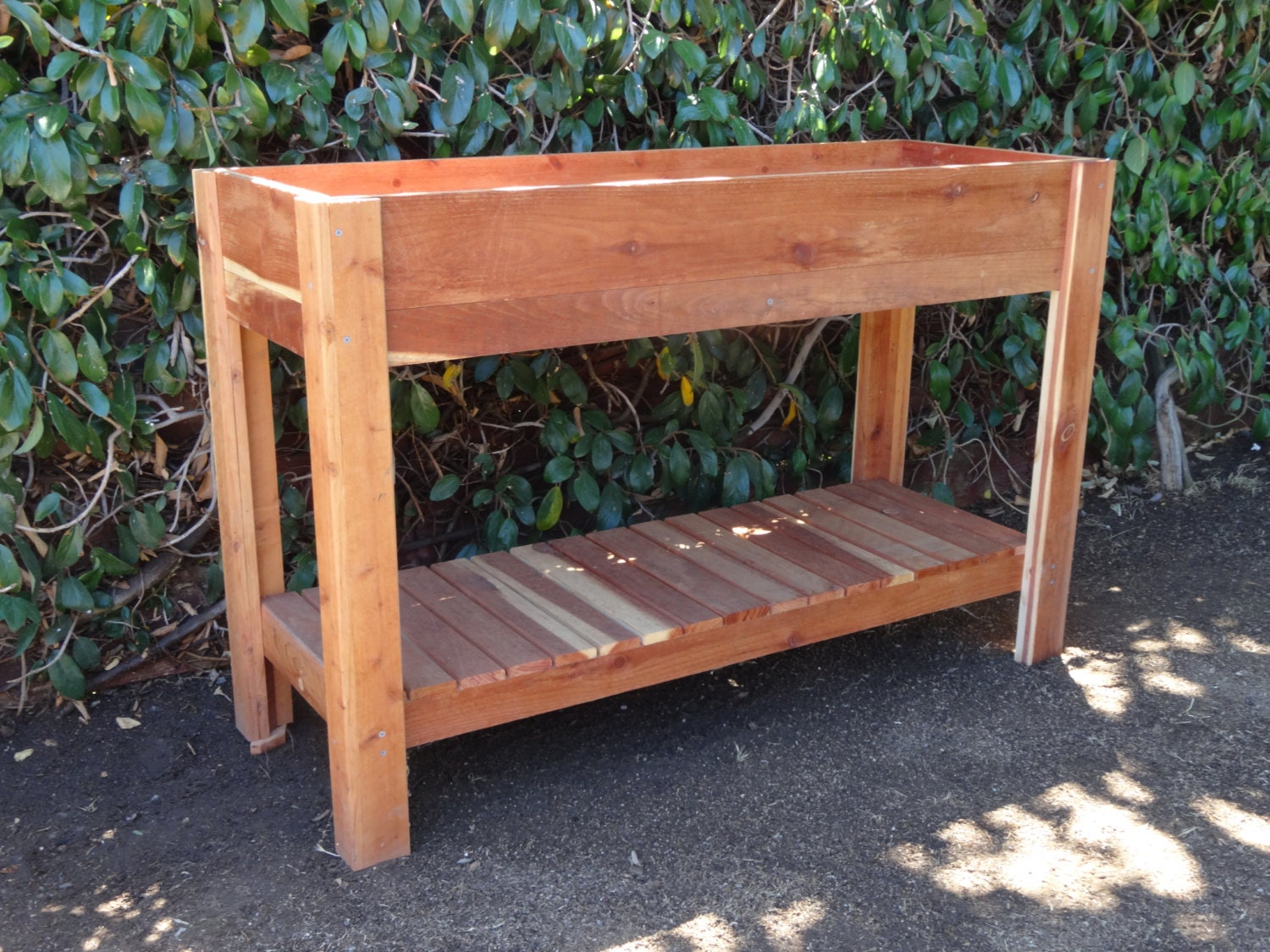 redwood elevated planter raised garden bed