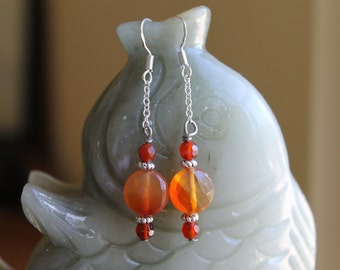Small Faceted Orange Coin Carnelian Earrings, sterling silver hook