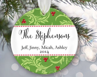 Personalized Christmas Ornament Christmas Gift Last Name & Date Custom Family Christmas Ornament Family Names Gift Design your own OR134